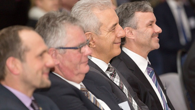 Lutz Berger and Prime Minister Tillich at the opening event of the digadses production centre 2014